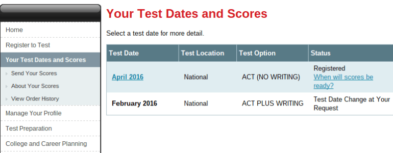 ACT Registration Fail