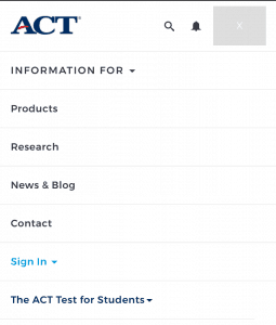 Register for the ACT: Sign In (Mobile)